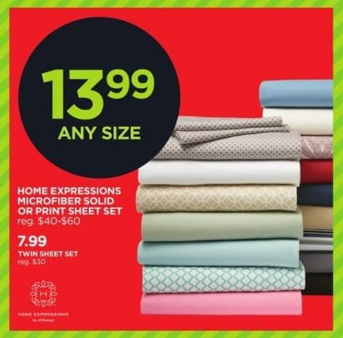 JCPenney Black Friday: Home Expressions Microfiber Solid or Print Sheet Set, Any Size for $13.99