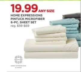 JCPenney Black Friday: Home Expressions Pintuck Microfiber 6-pc. Sheet Set, Any Size for $19.99