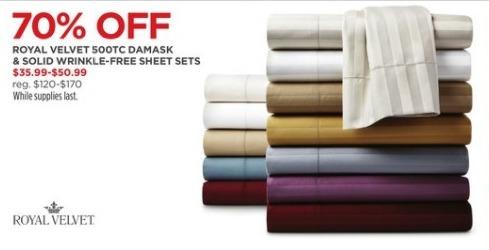 JCPenney Black Friday: Royal Velvet 500TC Damask and Solid Wrinkle-free Sheet Sets for $35.99 - $50.99