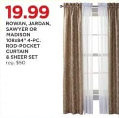 "JCPenney Black Friday: Rowan, Jardan, Sawyer or Madison 108x84"" 4-pc. Rod-Pocket Curtain and Sheer Set for $19.99"