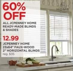 "JCPenney Black Friday: JCPenney Home 23x64"" Faux-Wood 2"" Horizontal Blinds for $12.99"