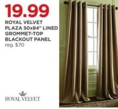 """JCPenney Black Friday: Royal Velvet Plaze 50x84"""" Line Grommet-Top Blackout Panel for $19.99"""