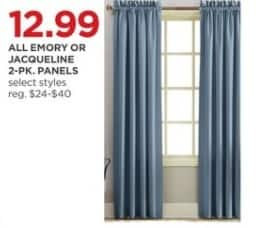 JCPenney Black Friday: All Emory or Jacqueline 2-pk. Panels, Select Styles for $12.99