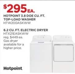 JCPenney Black Friday: Hotpoint 3.8 DOE cu. ft. HTW200ASKWW Top-Load Washer for $295.00