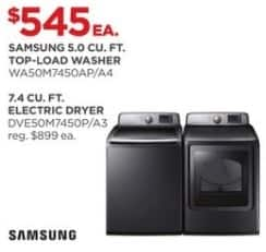 JCPenney Black Friday: Samsung 5.0 cu. ft. WA50M7450AP/A4 Top-Load Washer for $545.00
