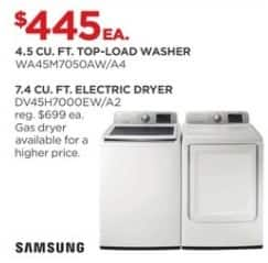 JCPenney Black Friday: Samsung 4.5 cu. ft. WA45M7050AW/A4 Top-Load Washer for $445.00