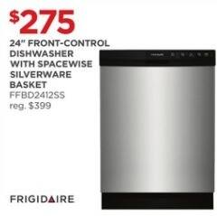 "JCPenney Black Friday: Frigidaire 24"" Front-Control FFBD2412SS Dishwasher w/ Spacewise Silverware Basket for $275.00"
