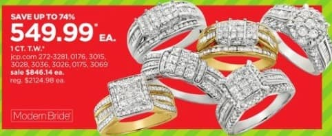 JCPenney Black Friday: 1 ct. t.w. Modern Bride White Gold Engagement Ring, Each for $549.99
