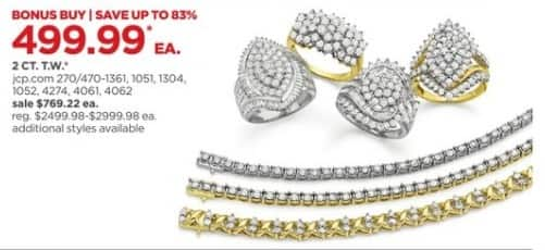JCPenney Black Friday: 2 ct. t.w. White Diamond 10K Gold Cocktail Ring , Each for $499.99