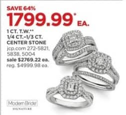 JCPenney Black Friday: 1 ct. t.w. 1/4 ct-1/3 ct. Center Stone Rings, Each for $1,799.99