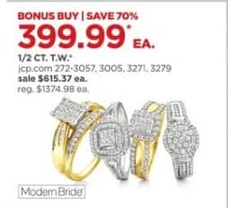 JCPenney Black Friday: 1/2 ct. t.w. Diamond Bridal Rings, Each for $399.99
