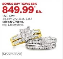 JCPenney Black Friday: 1 ct. t.w. Diamond 10K Yellow Gold Bridal Sets, Each for $849.99