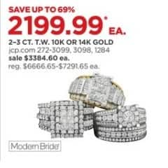JCPenney Black Friday: 2-3 ct. t.w. 10k or 14k Gold Engagement Rings, Each for $2,199.99