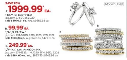 JCPenney Black Friday: 1 ct. IGI Certified Diamond Solitaire Rings, Each for $1,999.99