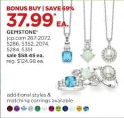JCPenney Black Friday: Gemstone Pendant Necklaces and Rings, Each for $37.99