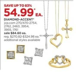 JCPenney Black Friday: Diamond Accent Necklaces, Earrings, Rings and More, Select Styles for $54.99