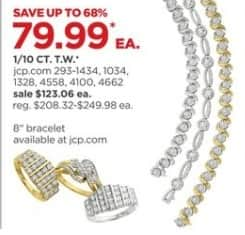 JCPenney Black Friday: 1/10 ct. t.w. Diamond Rings and Bracelets, Select Styles, Each for $79.99