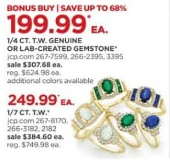 JCPenney Black Friday: 1/4 ct. t.w. Genuine or Lab-Created Gemstone Rings, Each for $199.99