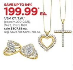 JCPenney Black Friday: 1/2-1 ct. t.w. Necklaces, Rings and More, Each for $199.99