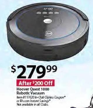 BJs Wholesale Black Friday: Hoover Quest 1000 Robotic Vacuum for $279.99