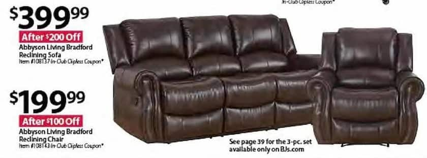 BJs Wholesale Black Friday: Abbyson Living Bradford Reclining Sofa For  $399.99