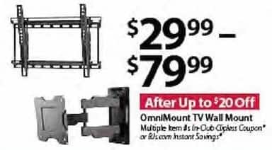 BJs Wholesale Black Friday: OmniMount TV Wall Mount for $29.99 - $79.99