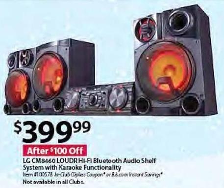 BJs Wholesale Black Friday: LG CM8460 LOUDR Hi-Fi Bluetooth Audio Shelf System w/Karaoke Functionality for $399.99