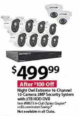 BJs Wholesale Black Friday: Night Owl Extreme 16-Channel 10-Camera 3MP Security System w/2TB HDD DVR for $499.99
