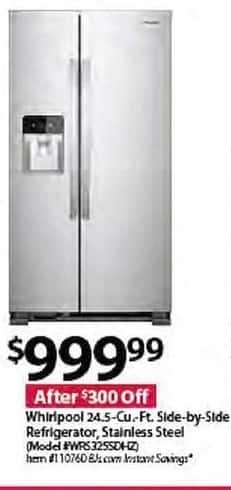 BJs Wholesale Black Friday: Whirlpool WRS325SDHZ 24.5-cu. ft. Side-by-Side Stainless Steel Refrigerator for $999.99