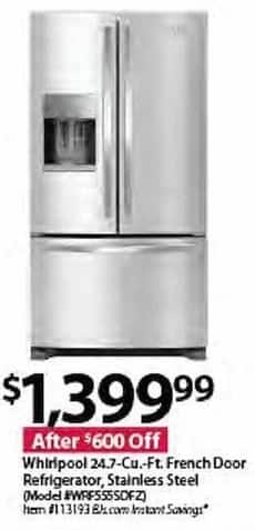 BJs Wholesale Black Friday: Whirlpool WRF555SDFZ 24.7-cu. ft. French Door Stainless Steel Refrigerator for $1,399.99