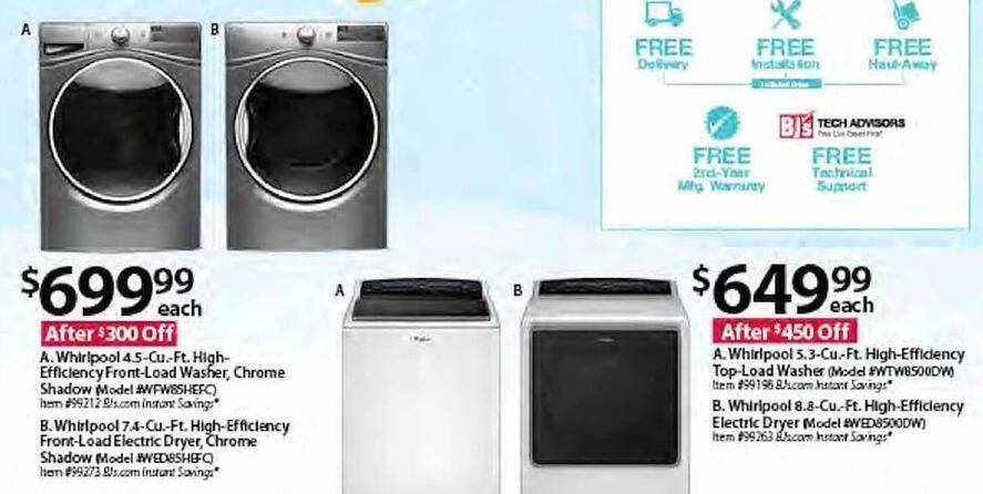 BJs Wholesale Black Friday: Whirlpool WED85HEFC 7.4-cu. ft. High-Efficiency Chrome Shadow Front-Load Electric Dryer for $699.99