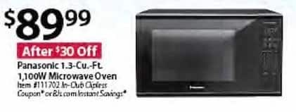 BJs Wholesale Black Friday: Panasonic 1.3-cu. ft. 1,100W Microwave Oven for $89.99
