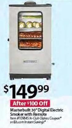 "BJs Wholesale Black Friday: Masterbuilt 30"" Digital Electric Smoker w/Remote for $149.99"