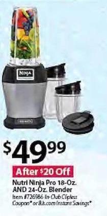 BJs Wholesale Black Friday: Nutri Ninja Pro 18-oz. and 24-oz. Blender for $49.99