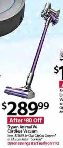 BJs Wholesale Black Friday: Dyson Animal V6 Cordless Vacuum for $289.99