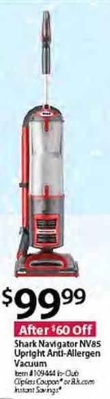 BJs Wholesale Black Friday: Shark Navigator NV85 Upright Anti-Allergen Vacuum for $99.99