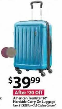 "BJs Wholesale Black Friday: American Tourister 20"" Hardside Carry-On Luggage for $39.99"