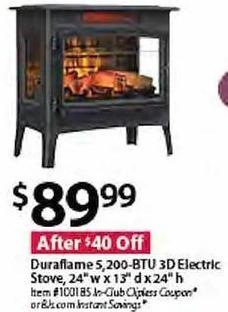 "BJs Wholesale Black Friday: Duraflame 5,200-BTU Electric Stove, 24""w x 13""d x 24""h for $89.99"