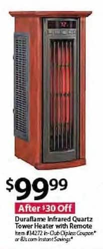 BJs Wholesale Black Friday: Duraflame Infrared Quartz Tower Heater w/Remote for $99.99
