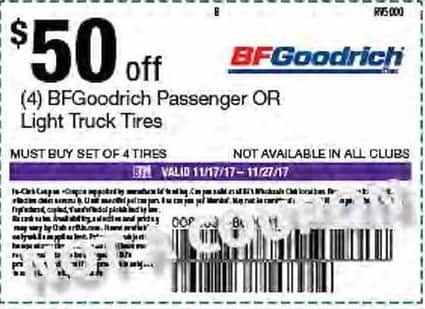 BJs Wholesale Black Friday: (4) BFGoodrich Passenger or Light Truck Tires, Your Choice - $50 Off w/Purchase of 4 Tires