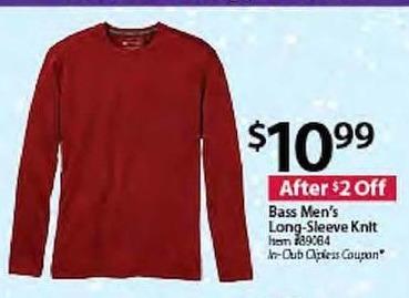 BJs Wholesale Black Friday: Bass Men's Long-Sleeve Knit for $10.99