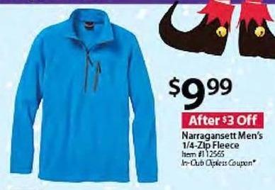 BJs Wholesale Black Friday: Narragansett Men's 1/4-Zip Fleece for $9.99