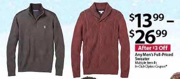 BJs Wholesale Black Friday: Any Men's Full-Priced Sweater for $13.99 - $26.99