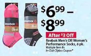 BJs Wholesale Black Friday: Reebok Men's or Women's Performance Socks, 8-pk. for $6.99 - $8.99