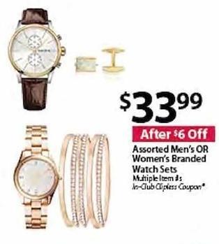 BJs Wholesale Black Friday: Assorted Men's or Women's Branded Watch Sets for $33.99
