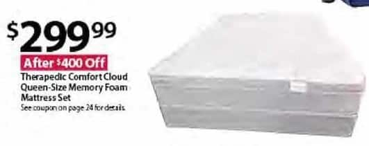 BJs Wholesale Black Friday: Therapedic Comfort Cloud Queen-Size Memory Foam Mattress Set for $299.99