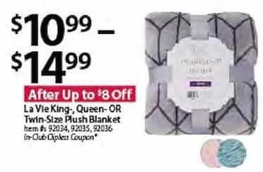 BJs Wholesale Black Friday: La Vie King/Queen/Twin Size Plush Blanket for $10.99 - $14.99