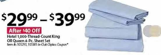 BJs Wholesale Black Friday: Hotel 1,000-Thread-Count King/Queen 4-pc. Sheet Set for $29.99 - $39.99