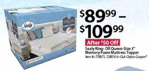 BJs Wholesale Black Friday: Sealy King/Queen Size Memory Foam Mattress Topper for $89.99 - $109.99