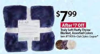 BJs Wholesale Black Friday: Truly Soft Fluffy Throw Blanket, Assorted Colors for $7.99